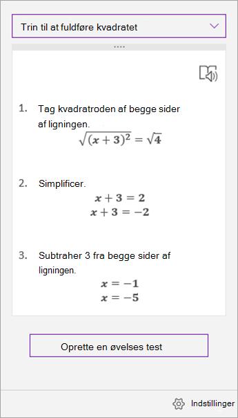 Løsningstrin i Matematikassistent-opgaveruden