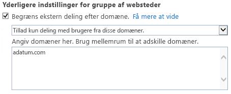 Skærmbillede af den begrænsede domænedel af dialogboksen Indstillinger for gruppe af websteder.