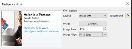 Du kan tilføje et billede til dit elektroniske visitkort.