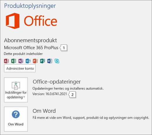 Skærmbillede af kontosiden, der viser Office-produktnavn og det fulde versionsnummer