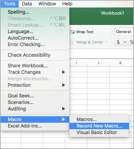 Vælg værktøjer og derefter makro, og klik derefter Indspil ny makro