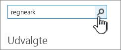 """Feltet """"find en app"""" med Regneark indtastet og knappen """"søg"""" fremhævet"""