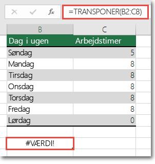 #VÆRDI-fejl i TRANSPONER