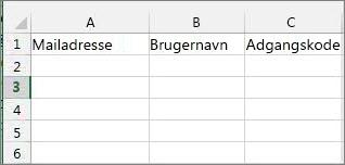 Celleoverskrifter i Excel-overførselsfil.