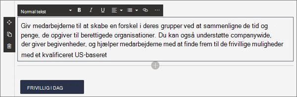 Formateringsindstillinger for webdelen tekst under redigering af en moderne side i SharePoint