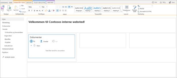Flytte webdelen af Dokumenter