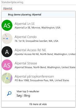 Foreslåede placeringer tilbydes via Bing