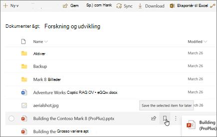 Mouseover-indstilling til at markere fil som gemt til senere i SharePoint