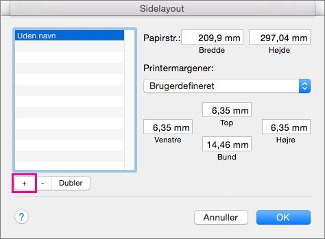 I Sideopsætning skal du vælge Administrer brugerdefinerede størrelser for at oprette brugerdefinerede papirstørrelser.