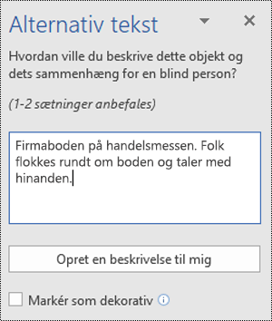 Dialogboksen til alternativ tekst i Word til Windows