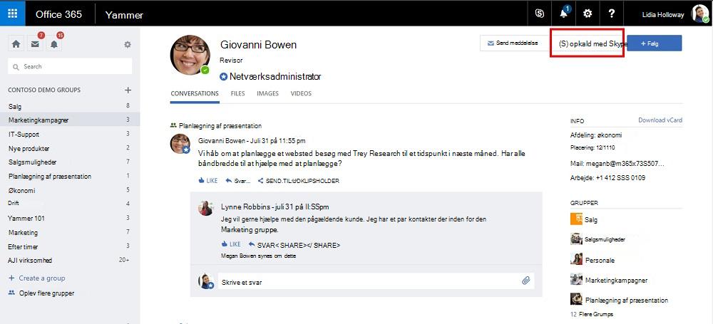 Profil siden opkald med Skype