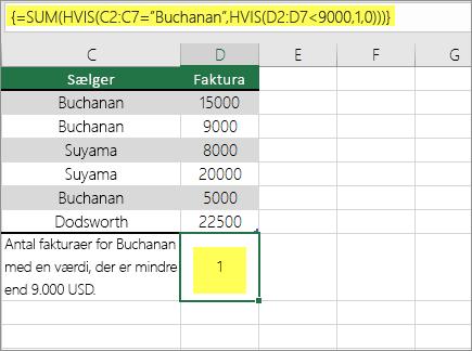 Eksempel 3: SUM og hvis indlejret i en formel
