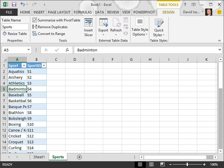 Navngive en tabel i Excel