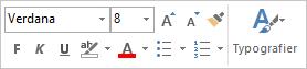 Miniværktøjslinjen til formatering af tekst i en meddelelse