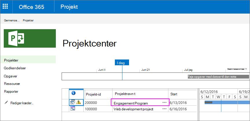 I projekt Center skal du vælge navnet på det projekt, som Scope-sætningen gælder for.