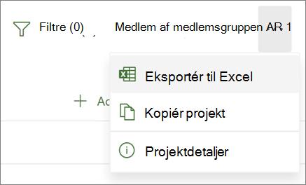 Skærmbillede af menuen i Project til internettet, der viser indstillingen Eksportér til Excel