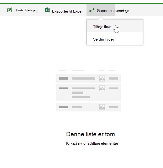 Oprette et rutediagram i en SharePoint Online-liste.