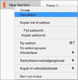 Sektionen genvejsmenu på Mac med Slet sektionen fremhævet.