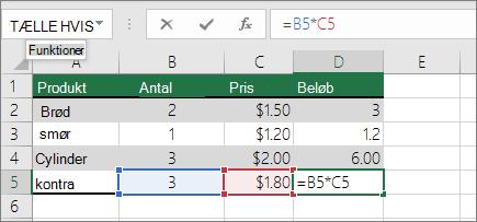 Skifte mellem relative, absolutte og blandede referencer Excel