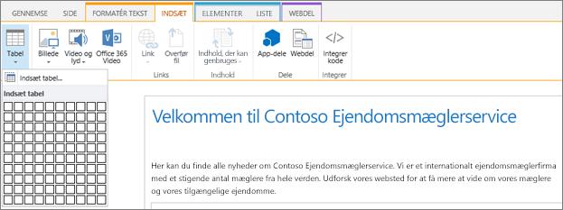 Skærmbilledet viser båndet i SharePoint Online. Vælg fanen Indsæt, og vælg derefter Indsæt tabel for at angive antallet af rækker og kolonner i en ny tabel.