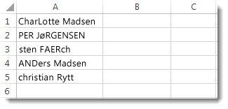 En kolonne med navne med uoverensstemmende tekststørrelser