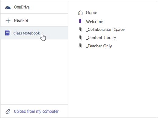 Skærmbillede fra opgavefilvælgeren i Microsoft Teams, herunder klassenotesbogen og dens sektioner.