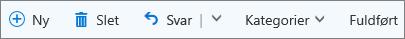 Kommandolinjen i Outlook.com til taggede mails i elementer markeret med flag og på opgavelisten