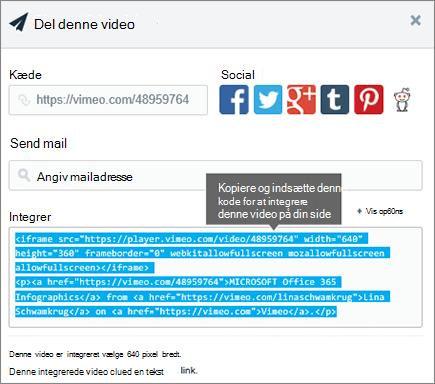 Eksempel på brug af integreringskode til at integrere indhold på SharePoint-side