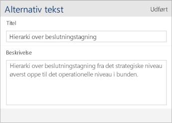 Skærmbillede af dialogboksen for alternativ tekst i Word Mobile, som indeholder felterne Titel og Beskrivelse.