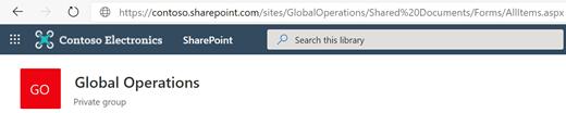 Dokumentbibliotek med dets URL-adresse vist i adresselinjen.