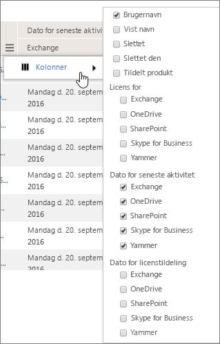Filterindstillinger for brugerniveau