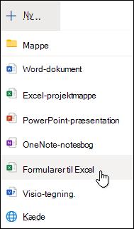 Indsæt formular for Excelindstilling i Excel Online