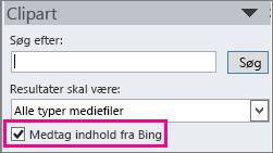 Afkrydsningsfeltet Medtag indhold fra Bing