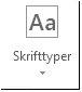 Knappen Skrifttyper i Publisher 2013