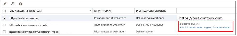 Skærmen Del websteder med linket Administrer eksterne brugere er fremhævet