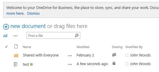 OneDrive for Business-dokumentbibliotek
