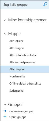 Mapper og kataloger, der vises, når du gennemser grupper i Kalender til Outlook på internettet til virksomheder