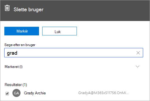 Skærmbillede, der viser kommandoen til at slette en bruger i Office 365 Administration.