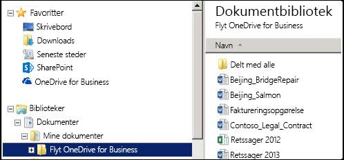 Mappen til arrangering af filer efter flytning af filer fra den synkroniserede SharePoint OneDrive for Business-mappe