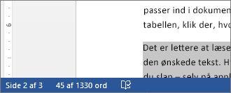 Statuslinje, der viser ordantallet i markeret tekst