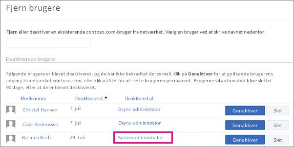 Skærmbillede, der viser en bruger, der fjernes af systemadministratoren.