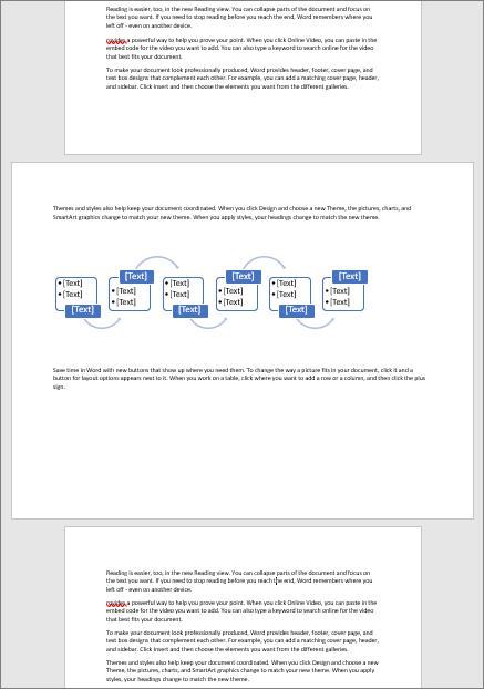 Et liggende side i et ellers stående dokument kan du tilpasse bred elementer som tabeller og diagrammer over på siden