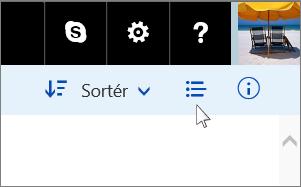 Klyngen af knapper i øverste højre hjørne, der indeholder til-/fra-knappen for oplysninger/miniature.