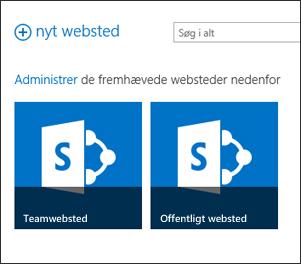 Siden med Office 365-websteder indeholder felterne Teamwebsted og Offentlige websted