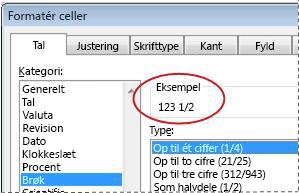 Feltet Eksempel valgt i dialogboksen Formatér celler