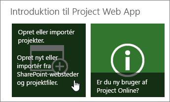 Oprette eller importere projekter