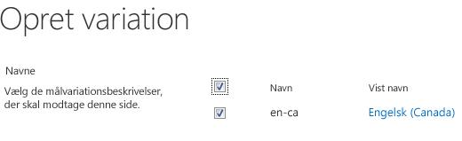 Skærmbillede med afkrydsningsfelter, der viser variationsswebsteder, der skal modtage indholdsopdateringer. Der er inkluderet variationsbetegnelser og deres tilsvarende visningsnavne