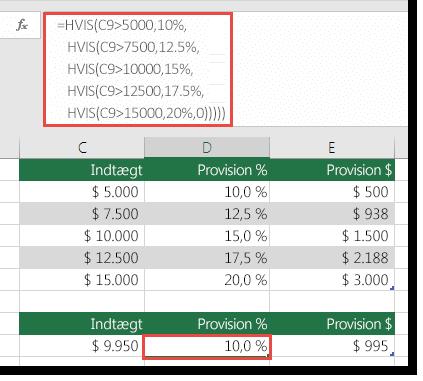 Formlen i D9 er i uorden som =HVIS(C9>5000,10%,HVIS(C9>7500,12.5%,HVIS(C9>10000,15%,HVIS(C9>12500,17.5%,HVIS(C9>15000,20%,0)))))