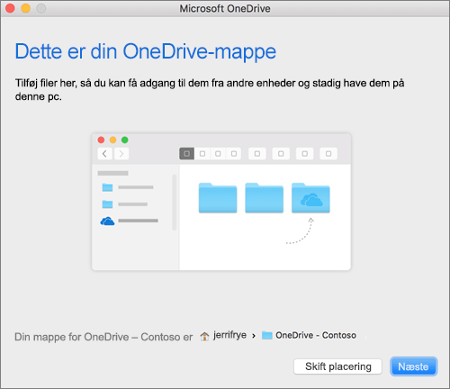 Skærmbillede af Dette er din OneDrive-mappe i guiden Velkommen til OneDrive til en Mac efter valg af en mappe