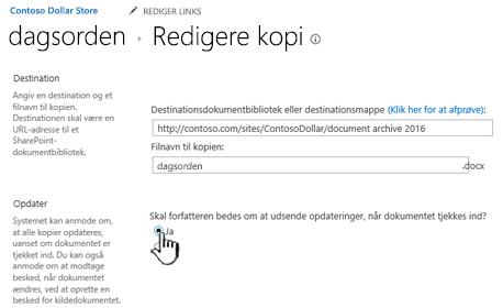 Klik på Ja prompten forfatteren at udsende opdateringer, når dokumentet er markeret sektion
